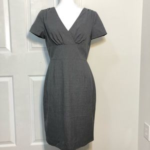 Lightweight Wool Gray Lined Sheath Dress
